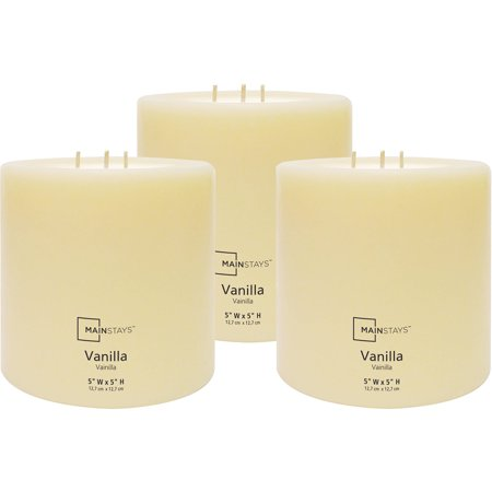 "Mainstays 5""x5"" Pillar Vanilla Scented Candle, Set of 3"