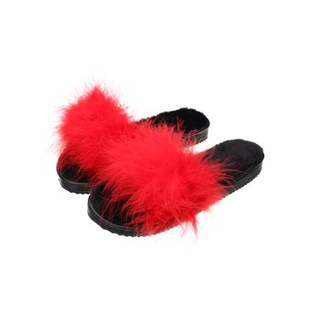 880185124e43 Meigar Women s Fur Fluffy Slides Marabou Mules Sandals Sliders Feather  Slippers