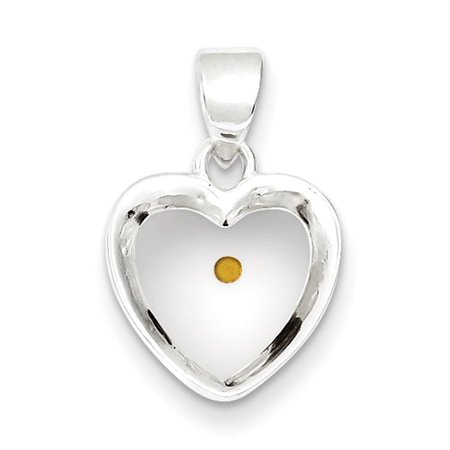 Sterling Silver Enameled with Mustard Seed Acrylic Heart Pendant](Mustard Seed Necklace)