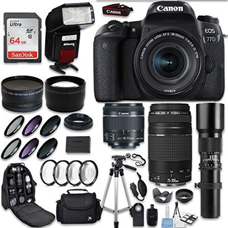 Canon EOS 77D DSLR Camera + Canon EF-S 18-55mm IS STM Lens + Canon EF 75-300mm Lens & 500mm f/8.0 Lens + 0.43 WideAngle Lens + 2.2 Telephoto Lens + Macro Close-ups + Accessories (Holiday Special