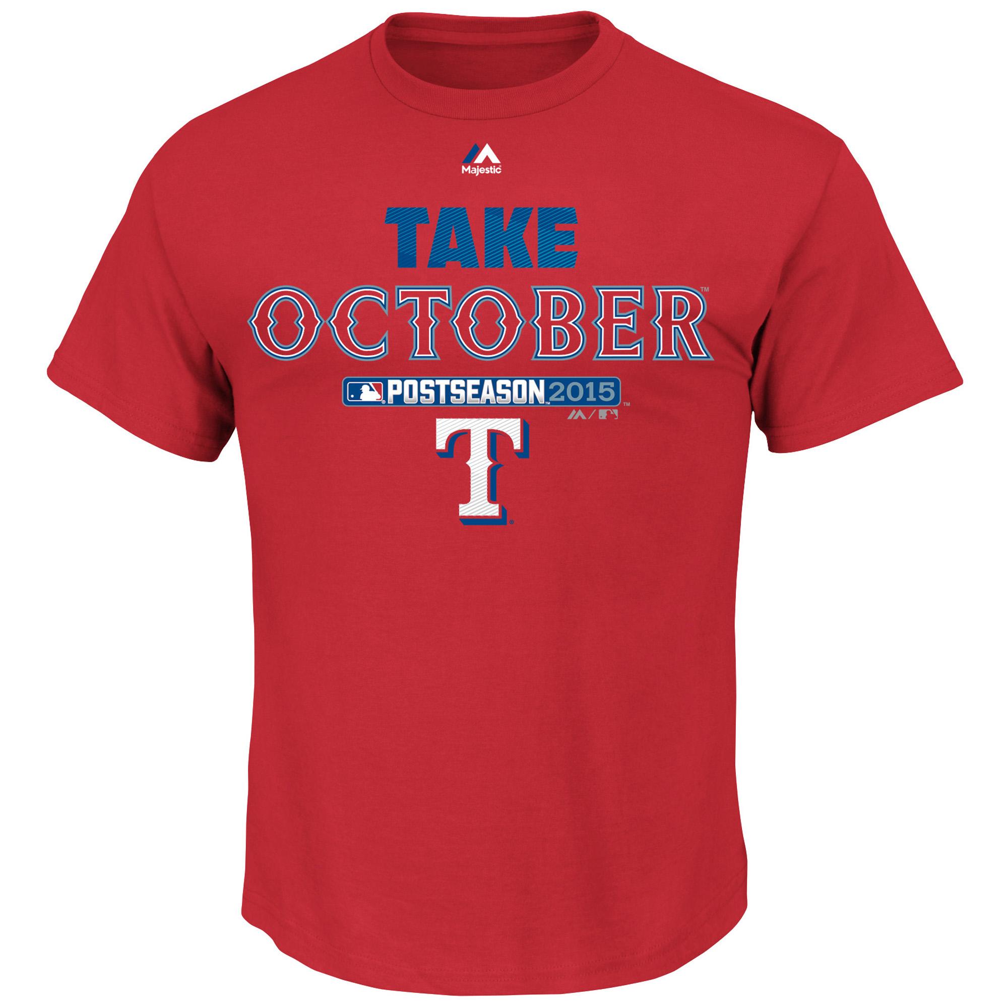 Texas Rangers Majestic 2015 Postseason Part T-Shirt - Red