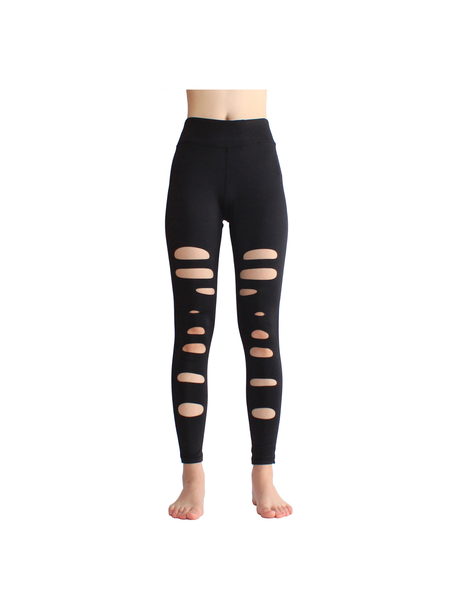 Womens Cutout Yoga Pants Elastic Gym Nine Pants Sports Running Fitness Tight Long Pants