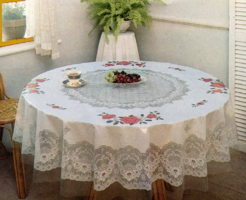 60 Inch Round Beautiful White Lace, 60 Inch Round Tablecloth Disposable