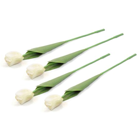 DII 4 Piece Artifical Tulip Silk Flowers For Bridal Bouquet, Home Decoration, DIY, Garden, Office Decor, Centerpiece Décor - White ()