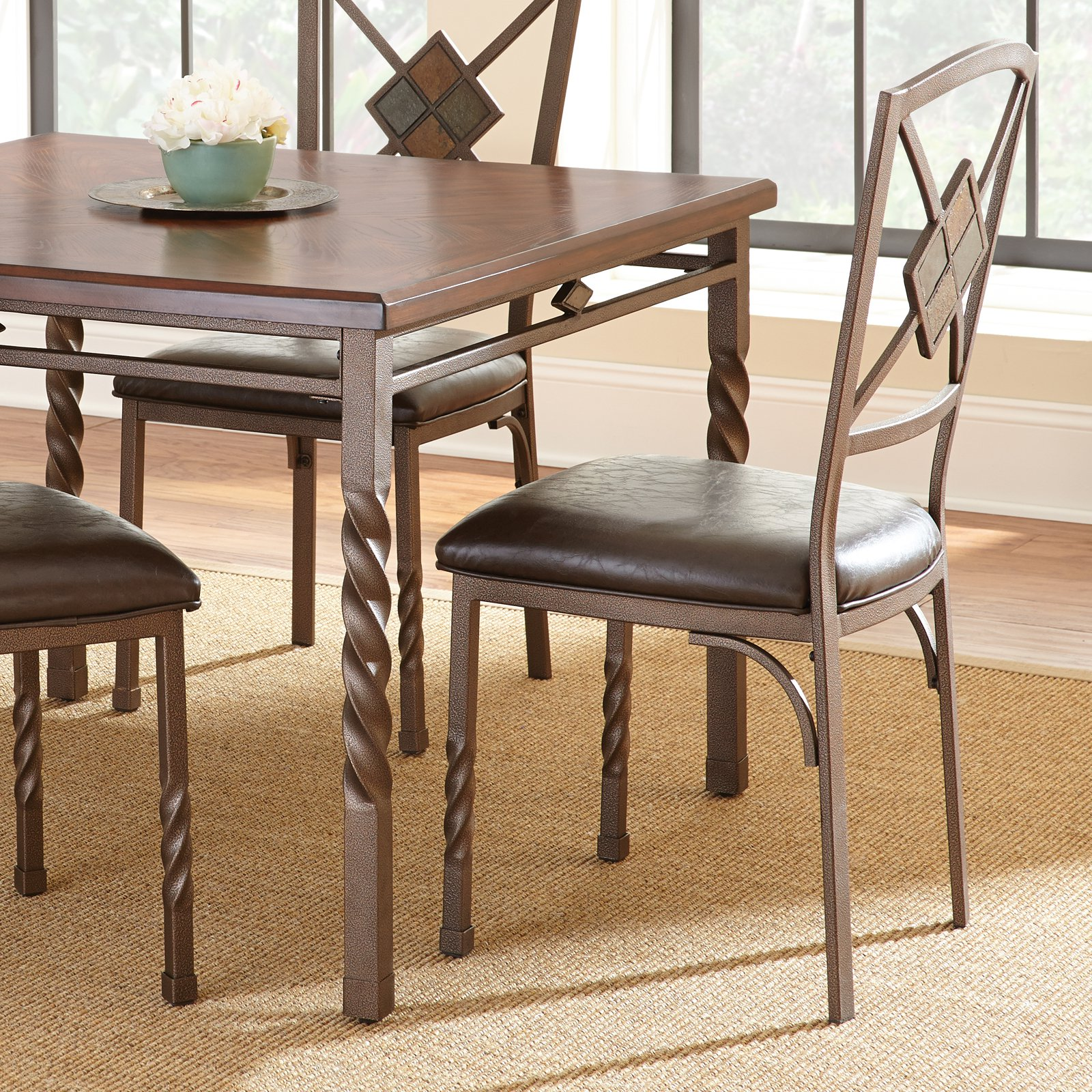 Steve Silver Annabella Side Dining Chair Set of 4 Dark Brown Upholstery by Steve Silver Co