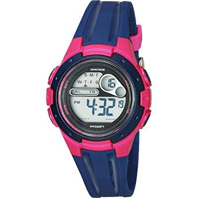Armitron sport women's 45/7079nvy pink accented digital c...