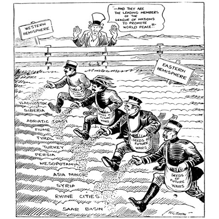 Cartoon League Of Nations 1920 Cartoon For The Chicago Tribune Critical Of The Members Of The League Of Nations For Failing To Uphold Their Mandate To Promote World Peace And Instead Sowing The Seeds