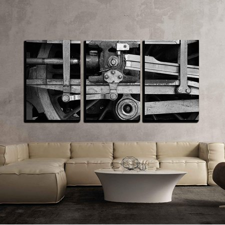 wall26 - 3 Piece Canvas Wall Art - Steam Train Wheel Drive - Modern Home Decor Stretched and Framed Ready to Hang - 24