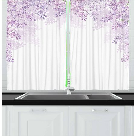 Purple Curtains 2 Panels Set, Framing Lilac Flowers in Blossom Vernal Season Soothing Shades of Purple, Window Drapes for Living Room Bedroom, 55W X 39L Inches, Pale Mauve Lilac White, by (Lilac Blossoms)