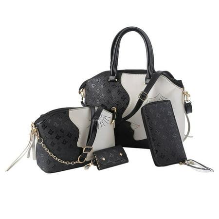 4pcs Set Fashion Women Handbags Composite Lady Shoulder Crossbody Bag Casual Ping Tote Pu Leather