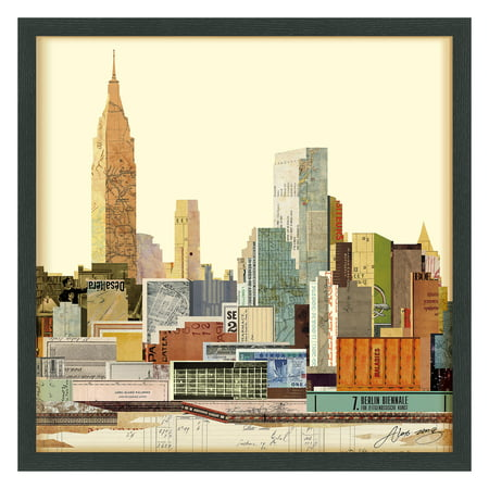 Empire Art Direct New York City Skyline C Dimensional Collage Hand Signed by Alex Zeng Framed Graphic Art