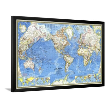 1970 World Map Framed Print Wall Art By National Geographic Maps