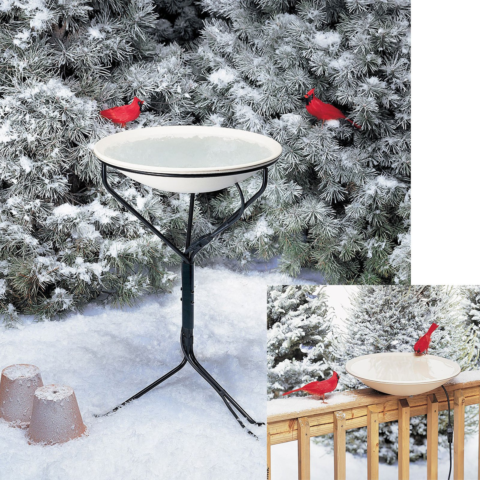 Allied Precision 20 in. Heated Birdbath with Metal Stand by Gold Crest Distributing LLC