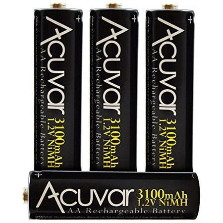 4 Acuvar High Capacity AA Rechargeable Batteries 3100mAh NiMH ()