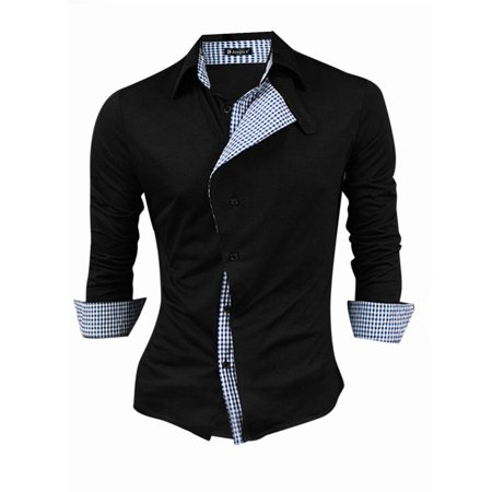 Wool Single Breasted 3 Button - Unique Bargains Men's Point Collar Button-Tab Single Breasted Panel Casual Shirt