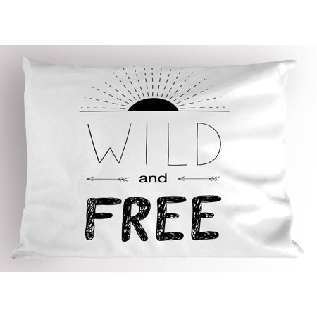 Adventure Pillow Sham Abstract Hand Drawn Rising Sun Figure Arrows Wild Free Forest Sketch Art Design, Decorative Standard Size Printed Pillowcase, 26 X 20 Inches, Black White, by Ambesonne ()