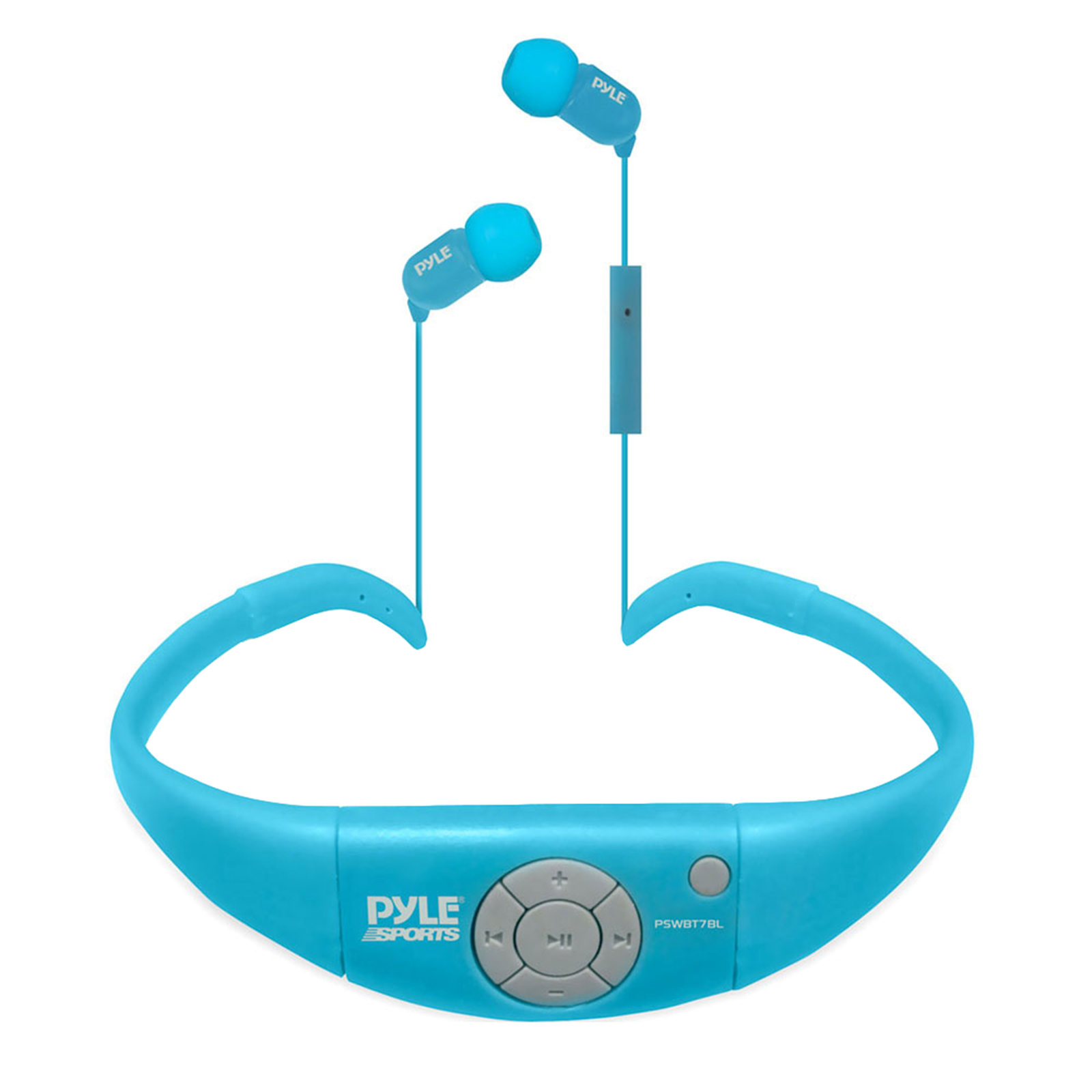 Active Sport Water Resistant BT Hands Free Cordless Stereo Headphones and Headset with Built in Microphone for Call Answering (Blue)