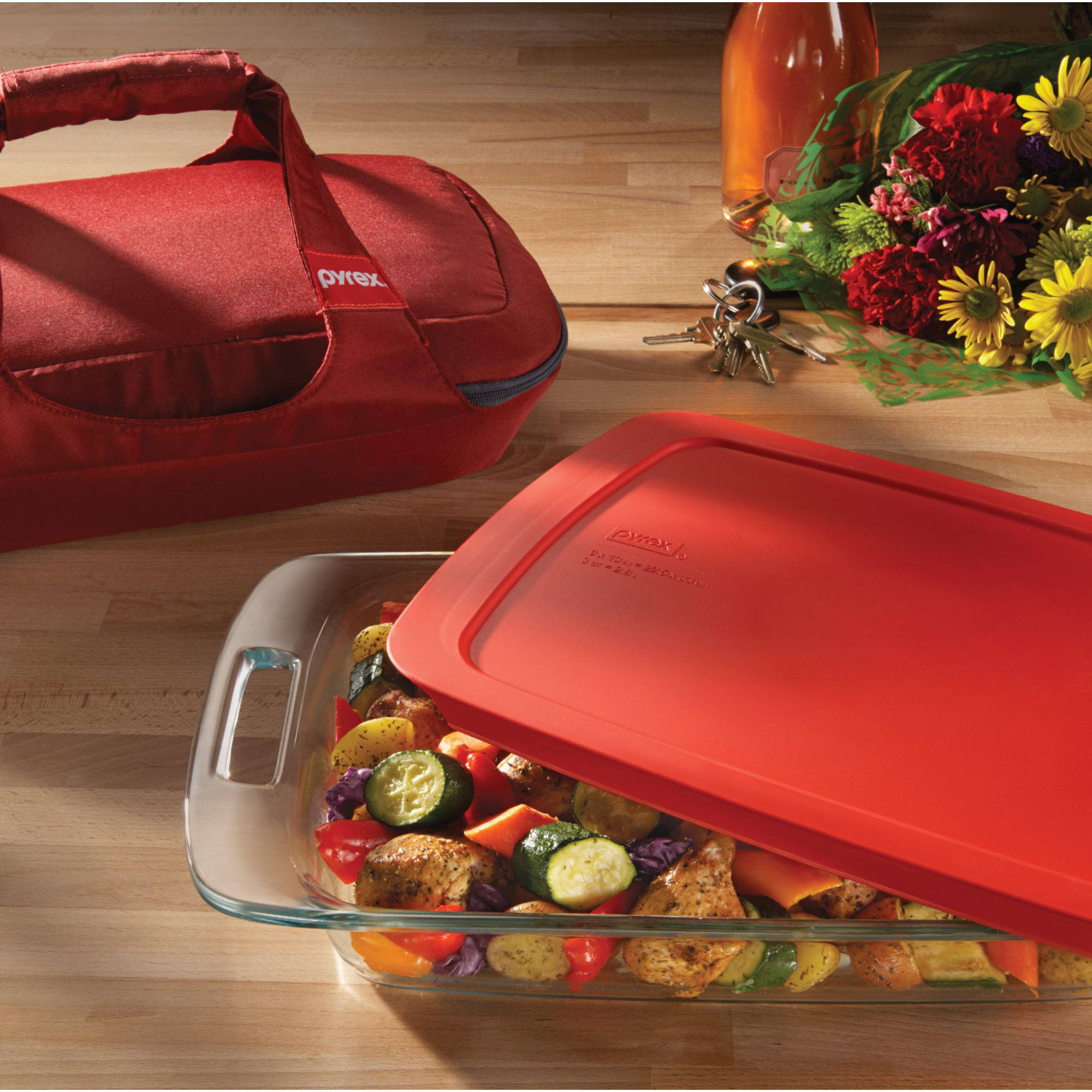 Pyrex 4 Piece Portable Set With Carrier, Glass