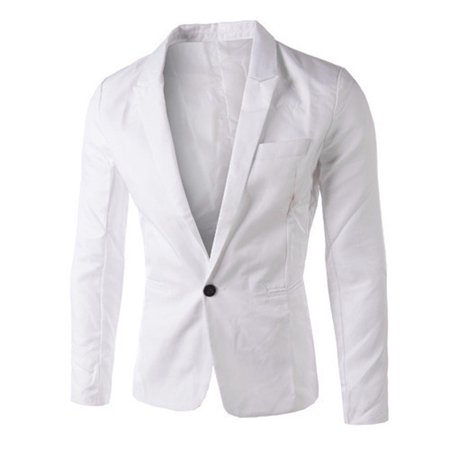 Mens Sequin Blazer (Charm Men's Casual Slim Fit One Button Suit Blazer Coat Jacket Tops Men)