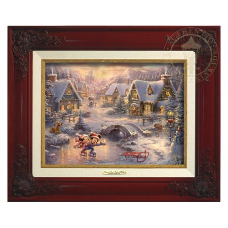 Thomas Kinkade Disney Mickey and Minnie - Sweetheart Holiday - Canvas Classic (Brandy Frame)