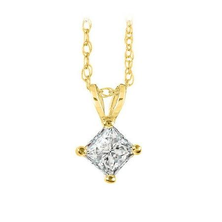 Natural Diamond Solitaire Pendant in 14K Yellow Gold - image 2 de 2