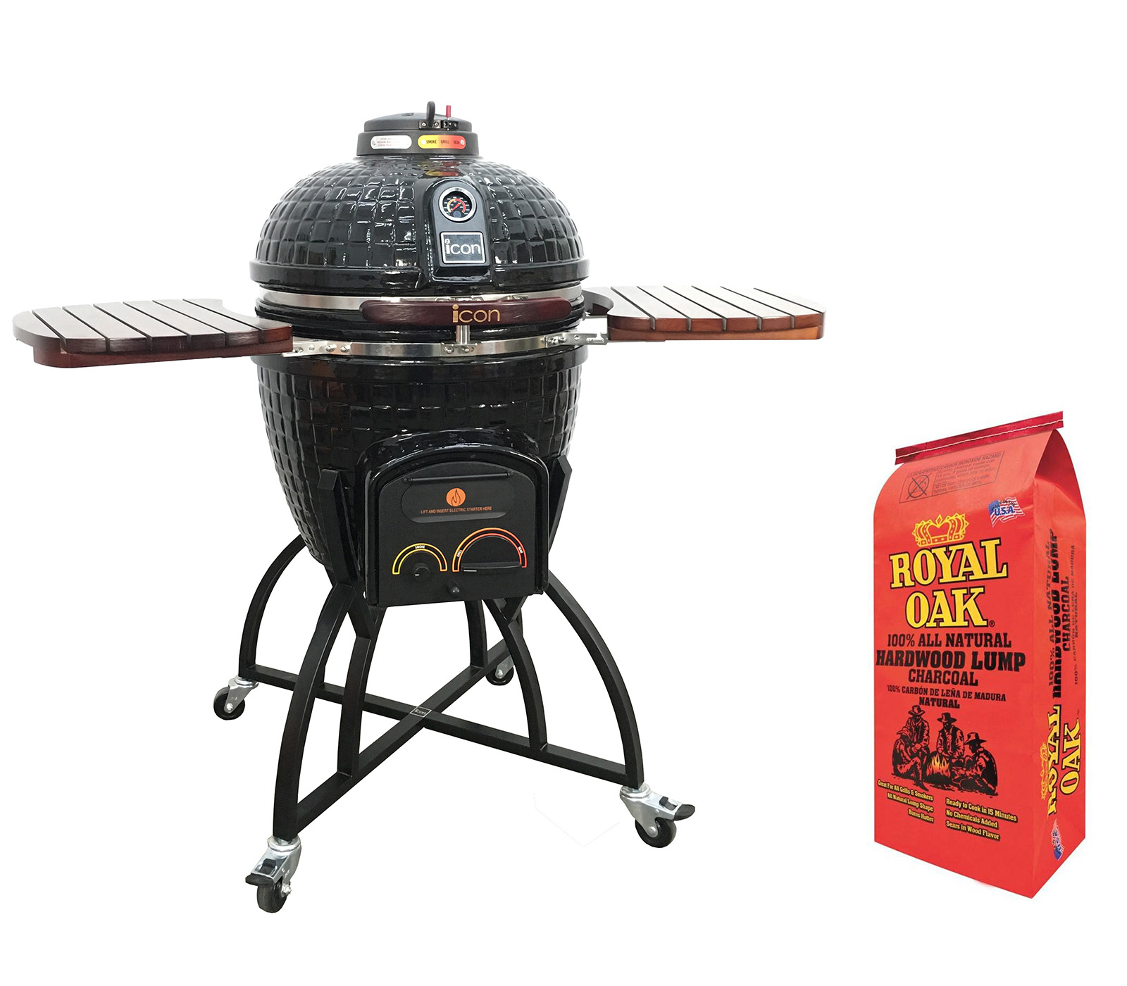 Icon Grills 400 Series Black Charcoal Grill with Shelves & Lump Charcoal Bag by Icon Grills