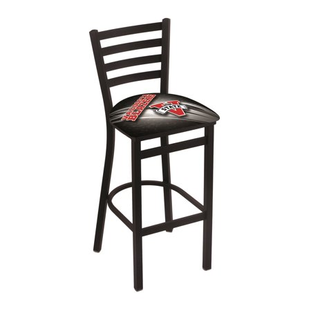 "L004 - 30"" Black Wrinkle Valdosta State Stationary Bar Stool with Ladder Style Back by the Holland Bar Stool Co."