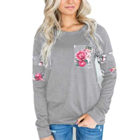 Casual Women T Shirts Blouse Long Sleeve Round Neck Shirt Women's Clothing Floral Printed