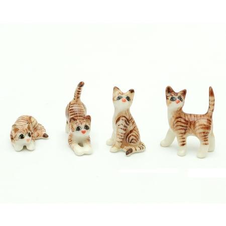 Set of 4 Handmade Miniatures Ceramic Brown Tabby Cat Figurines Animals Decor Collection Hand Blown Miniature