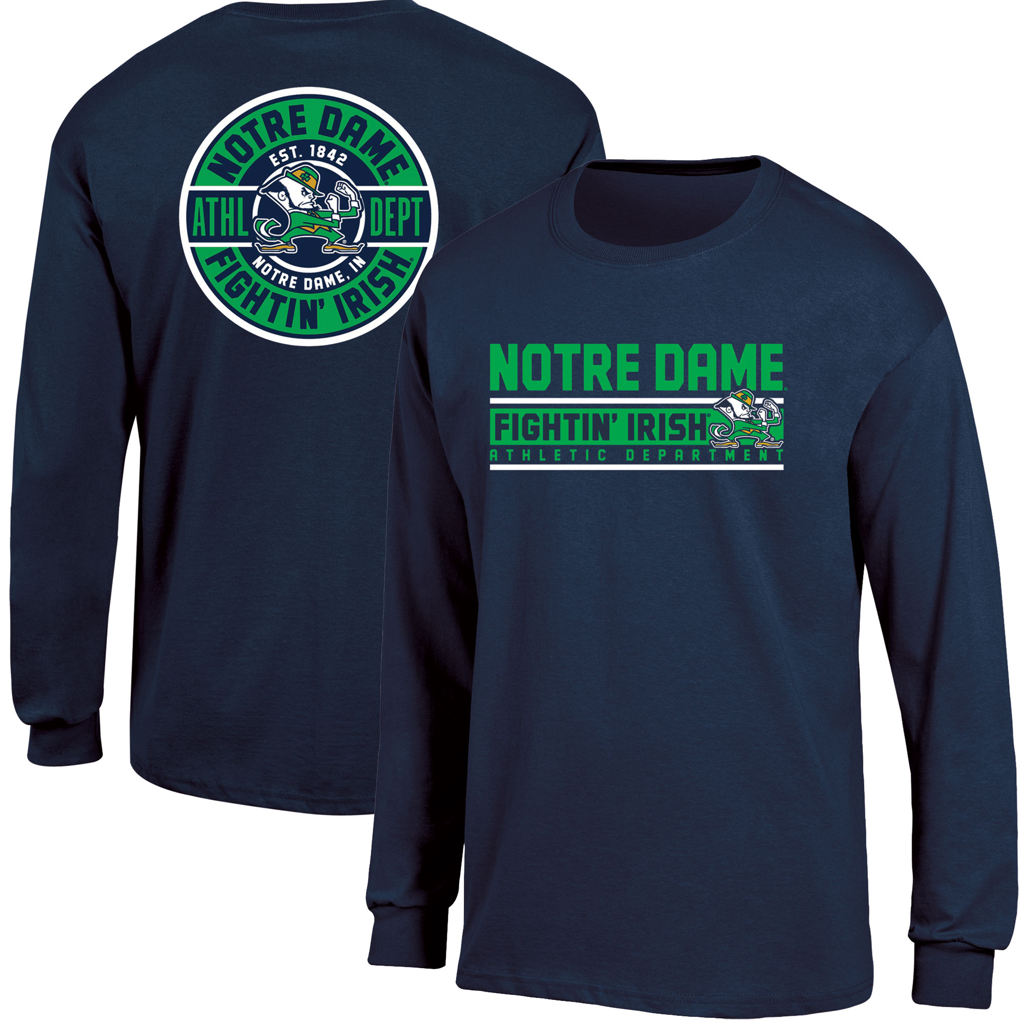 Men's Russell Navy Notre Dame Fighting Irish Back Hit Long Sleeve T-Shirt