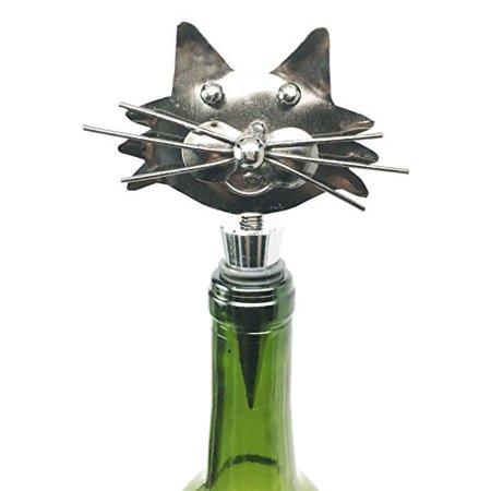 Hustling Kitty Cat Kitchen Wine Bottle Topper Stopper Metal Rubber Cork Hosting Accessory