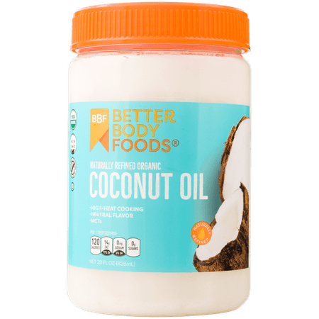 Whole Coconut Oil (BetterBody Foods Refined Organic Coconut Oil, 28.0 Fl Oz)