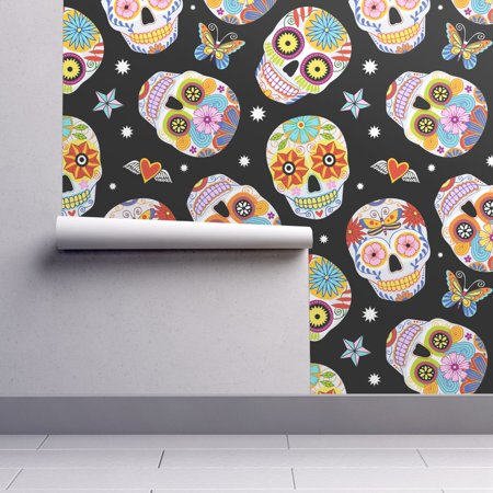 Removable Water-Activated Wallpaper Dia De Los Muertos Floral Skulls Halloween - Live Halloween Wallpapers For Android