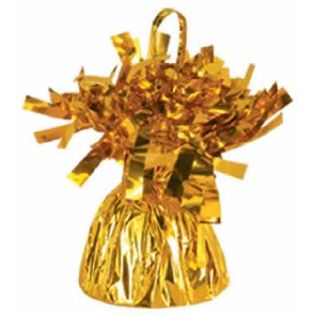Metallic Wrapped Balloon Weights - Gold- Pack of 12