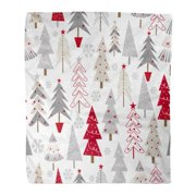 ASHLEIGH Throw Blanket 58x80 Inches Red Pattern Christmas Trees Seasonal Snow White Warm Flannel Soft Blanket for Couch Sofa Bed