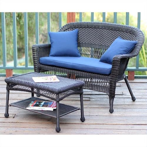 Jeco Wicker Patio Love Seat and Coffee Table Set in Espresso with Blue Cushion