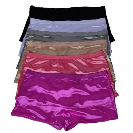 87aa87f778e Viola s Secret - Women Satin Boxer 6 pack of Plain Satin Shining Underwear