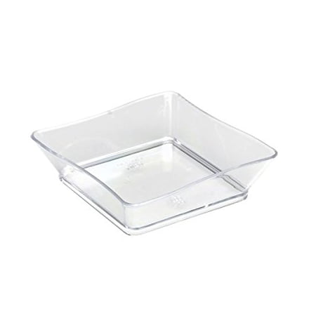 Plastic Catering Platters (Fineline Settings 6201-CL, 2.25x2.25-Inch Clear Plastic Tiny Trays, Disposable Serving Dish, Catering Plates, Salad Sauce Dessert Platter Bowls)