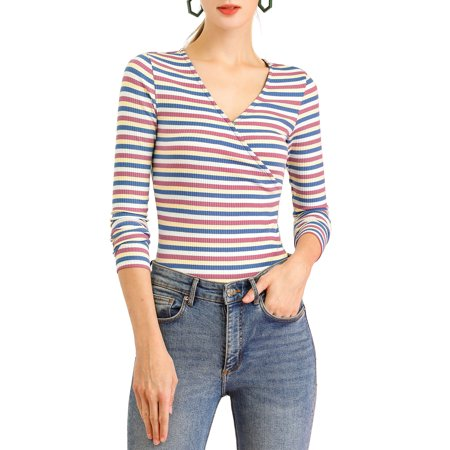 Allegra K Women's Colorful Rainbow Striped Long Sleeve Slim Knit Top XL Multicolour Blue