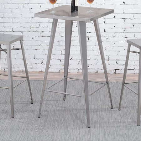 Furniture of America Cordon Industrial Dark Grey Square Tall Bar Table by FOA 27' Square Bar Table
