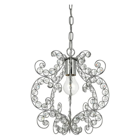 AF Lighting Rapture 1-Light Mini Chandelier, Clear Glass/Chrome