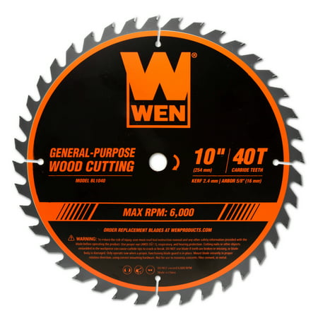 WEN 10-Inch 40-Tooth Carbide-Tipped Professional Woodworking Saw Blade for Miter Saws and Table Saws, BL1040