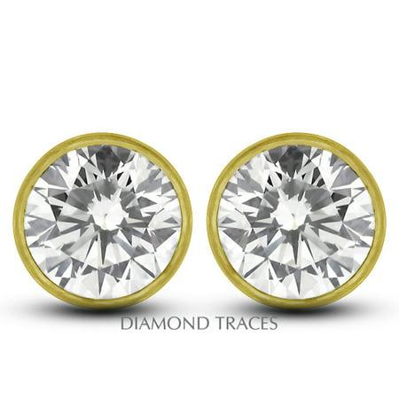 0.41ctw D-VS2 Ideal Round Genuine Diamonds 14k Gold Bezel Setting Earrings 3.8mm