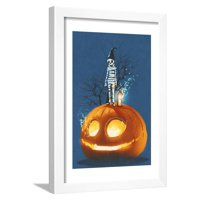 Mummy Standing on Giant Pumpkin,Jack O Lantern,Halloween Concept,Illustration Painting Framed Print Wall Art By Tithi Luadthong