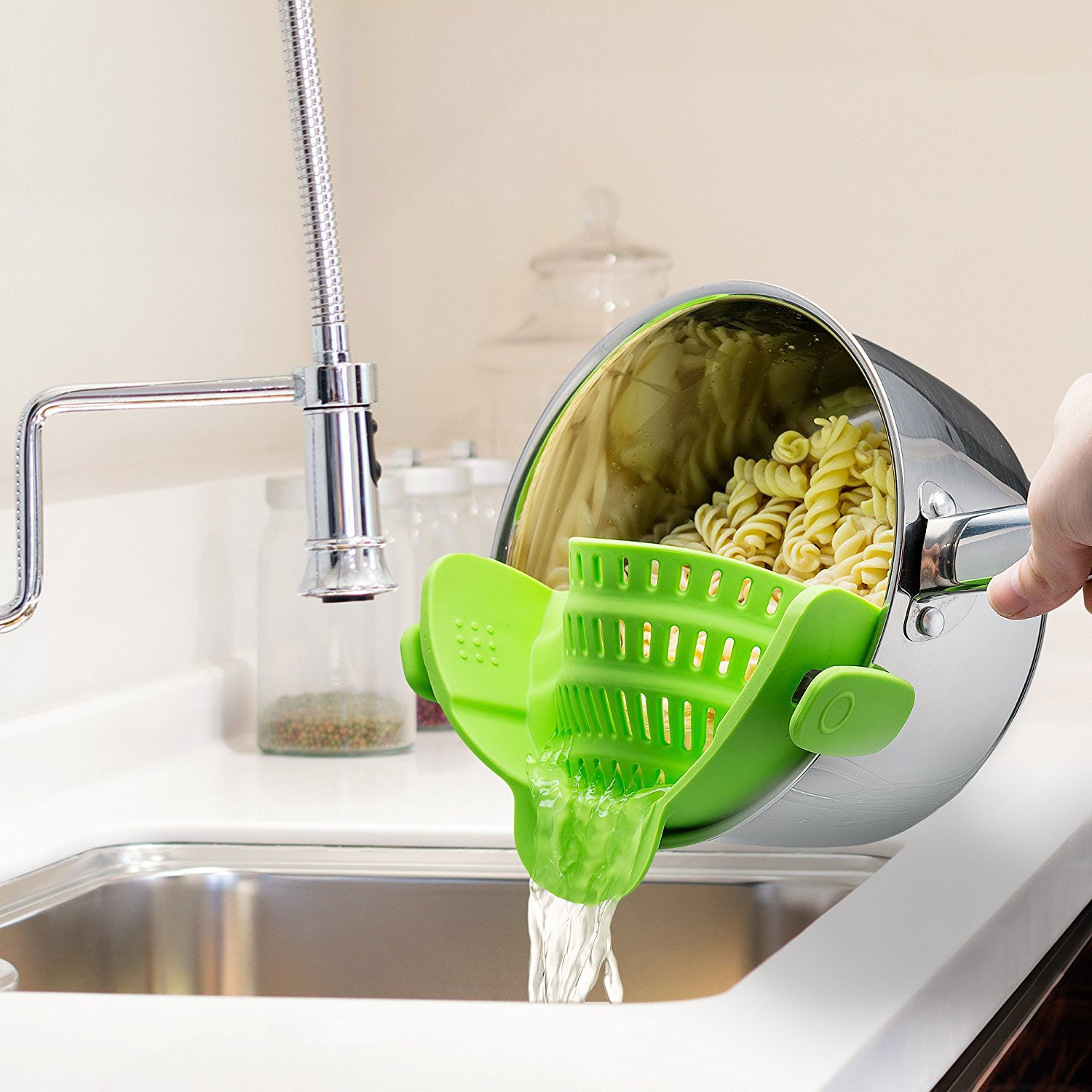 Snap 'N Strain Strainer Clip On Silicone Colander Fits all Pots and Bowls Lime Green by