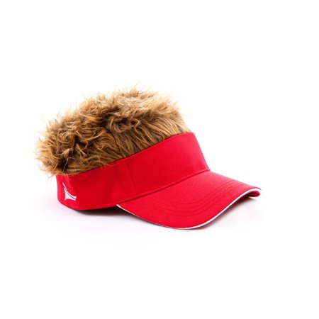 RED VISOR FLAIR HAIR - Brown Wig - NOVELTY GAG COSTUME (Novelty Wig)