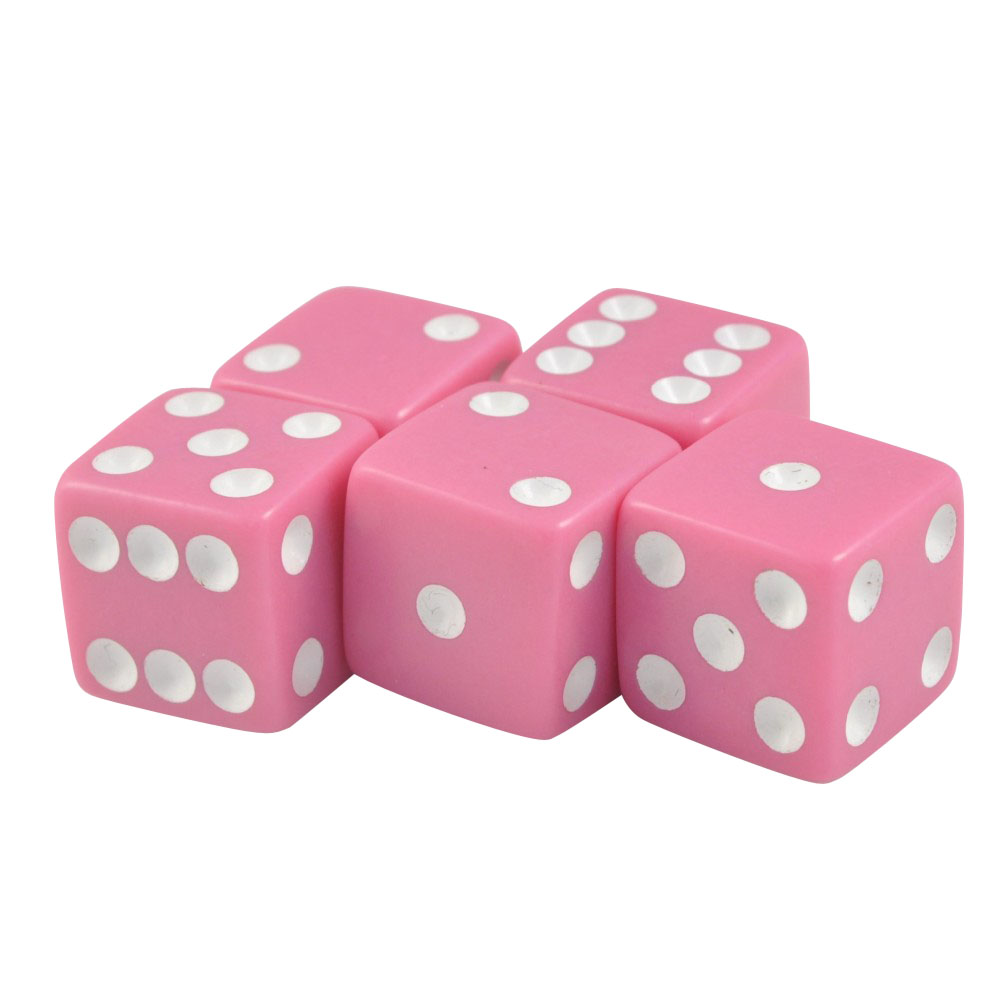 Set of 5 Green Marbleized Dice Square Corner 16mm Opaque White Spots Organza Bag