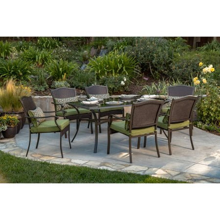Better homes and gardens providence 7 piece patio dining set green seats 6 for Better homes and gardens customer service