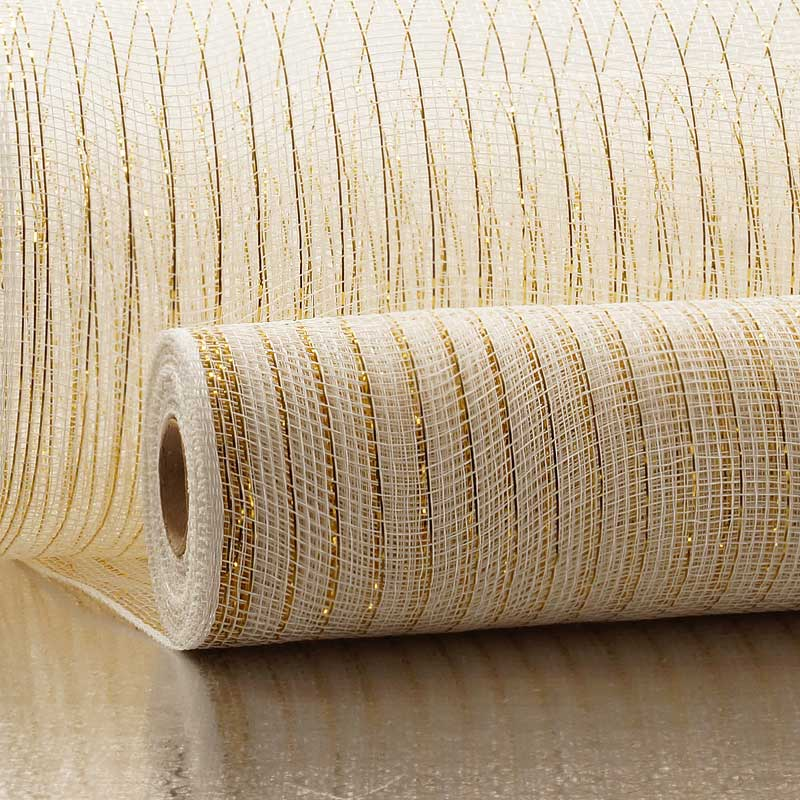 "21"" X 10 Yards White/Gld Deco Mesh W/ Metallic Stripes by Paper Mart"