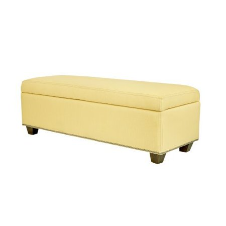 Angelo Home Kent Storage Bench Ottoman Washed Buttercream Yellow